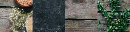 collage of organic bath salt, green plant, wooden and stone texture Reklamní fotografie