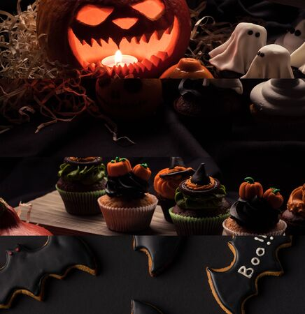 collage of traditional Halloween decoration, bat cookies and cupcakes