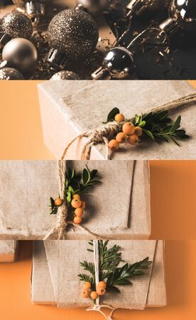 collage of gift box wrapped in craft paper with sea buckthorn on orange background and Christmas baubles