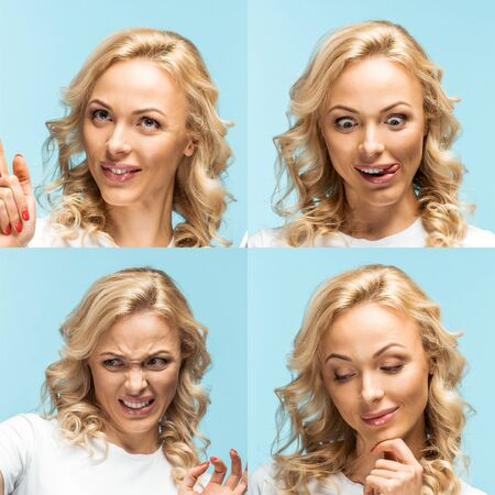 collage of blonde young woman showing various emotions isolated on blue