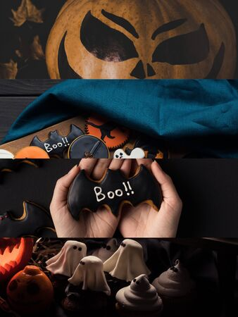 collage of traditional Halloween decoration and cookies Reklamní fotografie