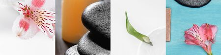 collage of green leaf, pink lily flowers and spa stones Reklamní fotografie