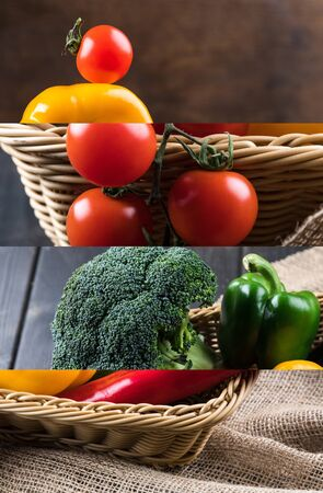 collage of tomato, broccoli and bell pepper in wicker basket near sackcloth on wooden dark table