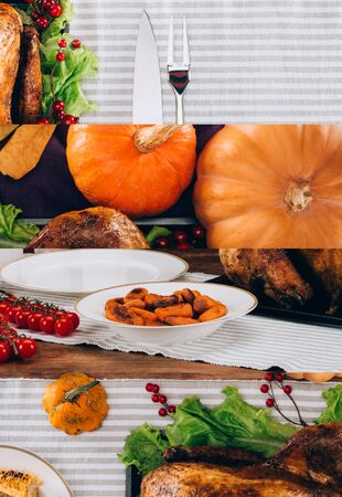 collage of pumpkins and baked turkey served on striped tablecloth, Thanksgiving festive table setting
