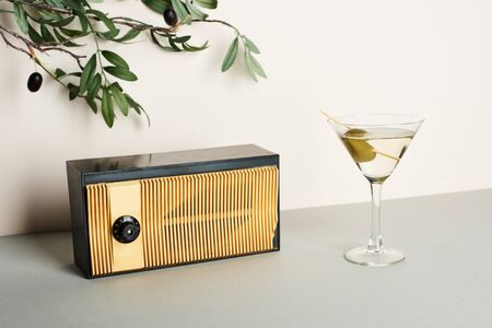 Vintage radio with martini and olive branch on white background
