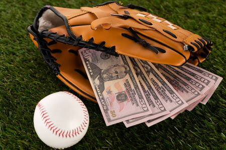 dollar banknotes in baseball glove near ball on green grass, sports betting concept Фото со стока