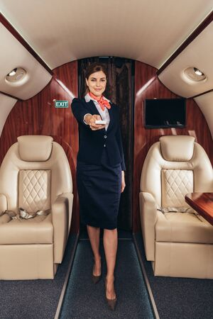 flight attendant in uniform holding remote controller in private plane
