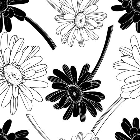 Vector Gerbera floral botanical flower. Wild spring leaf wildflower isolated. Black and white engraved ink art. Seamless background pattern. Fabric wallpaper print texture.