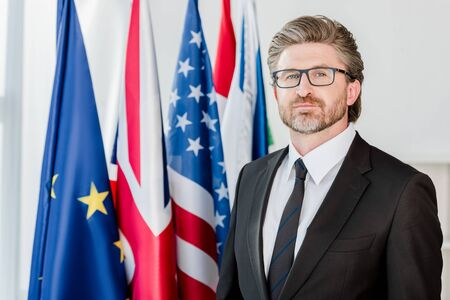 handsome diplomat in glasses looking at camera near flags Фото со стока