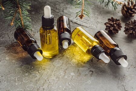 bottles with hemp oil near fir branches and dry cones on grey stone surface Stock Photo