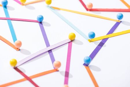 multicolored abstract connected lines with pins, connection and communication concept