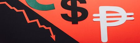 panoramic shot of dollar and peso symbols, and recession arrow on red and black background divided by sloping line