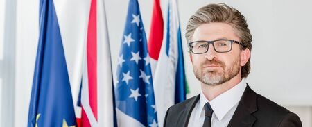 panoramic shot of handsome diplomat in glasses looking at camera near flags