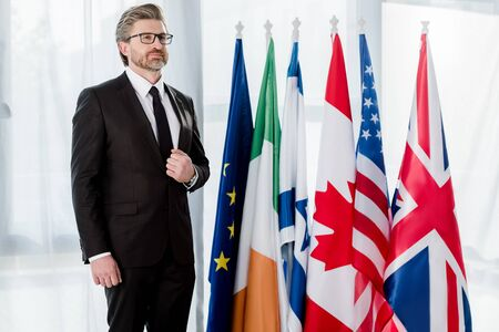 handsome ambassador in glasses standing near flags in embassy