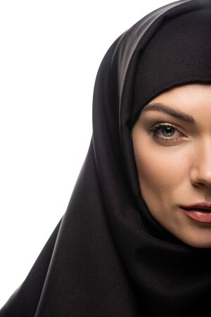 cropped view of beautiful young Muslim woman in hijab isolated on white Stock fotó