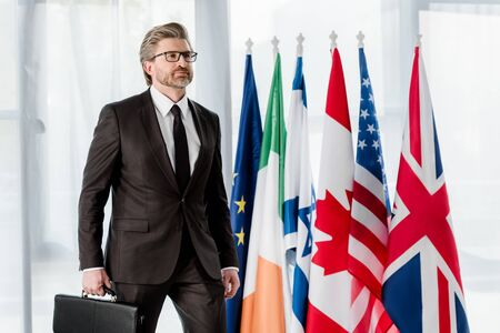 handsome bearded diplomat holding briefcase near flags