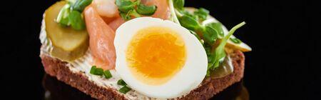 panoramic shot of boiled egg on danish smorrebrod on black 写真素材