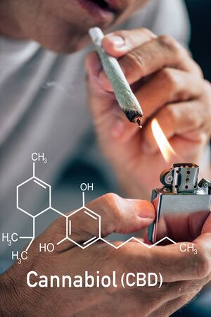 cropped view of man lighting up blunt with medical cannabis near cbd molecule illustration