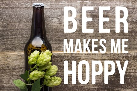 top view of fresh beer in bottle with green hop on wooden surface with beer makes me hoppy illustration