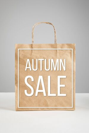 paper shopping bag with autumn sale illustration isolated on grey, black Friday concept