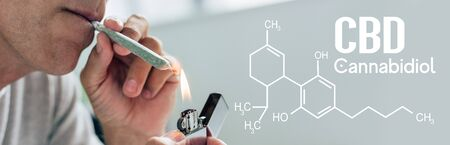cropped view of man lighting up blunt with medical cannabis, panoramic shot with cbd molecule illustration Stockfoto