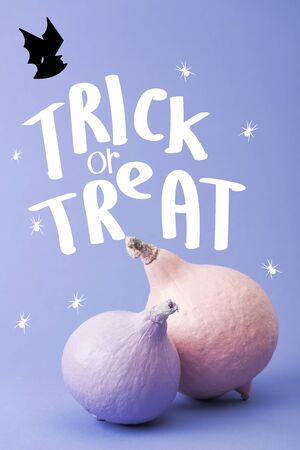 pastel colorful painted pumpkins on violet background with trick or treat illustration Stock fotó
