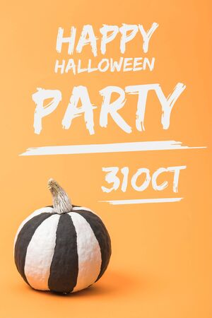 striped painted black and white Halloween pumpkin on orange colorful background with happy Halloween party, 31 October illustration Stok Fotoğraf