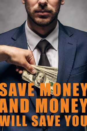 cropped view of man putting money in pocket of businessman with save the money and money will save you illustration