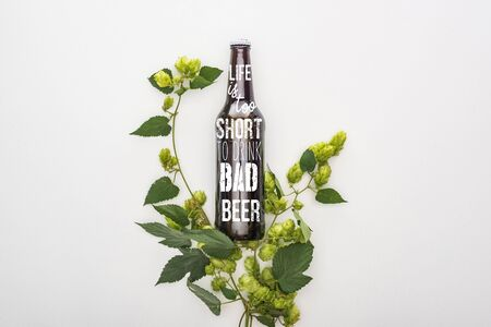 top view of beer in bottle with life is too short to drink bad beer lettering  near green blooming hop on white background