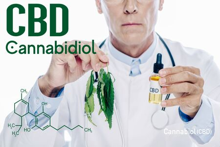 cropped view of doctor in white coat holding cbd oil and marijuana leaf isolated on white with cbd molecule illustration Stock Photo