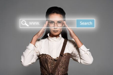 steampunk woman touching glasses behind search bar digital illustration isolated on grey