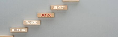 panoramic shot of wooden blocks with motivation, teamwork, success, strategy words on grey background, business concept 版權商用圖片