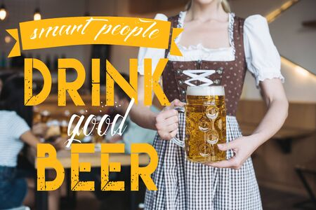 partial view of waitress in german national costume holding mug of light beer near smart people drink good beer illustration