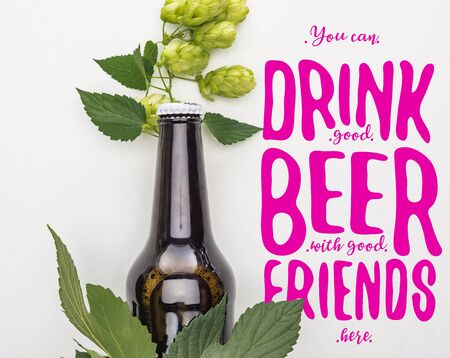 top view of beer in bottle with green blooming hop on white background with purple you can drink good beer with good friends here illustration Zdjęcie Seryjne