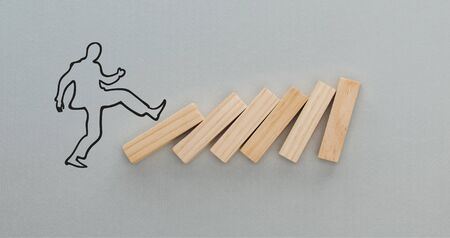 panoramic shot of drawn man pushing wooden blocks on grey background, business concept