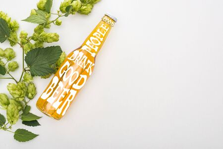 top view of beer in bottle with good people drink good beer lettering and green blooming hop on white background Zdjęcie Seryjne