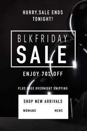 bunch of black balloons isolated on black with black Friday illustration
