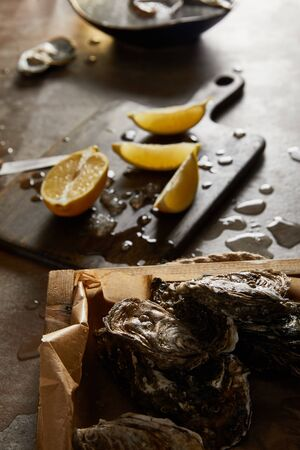 selective focus of tasty oysters in shell near cutting board and melting ice