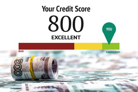 selective focus of cash roll of russian rubles isolated on white with credit score illustration