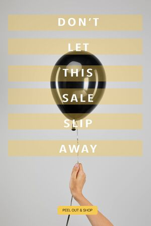 cropped view of woman holding  black balloon isolated on grey with dont let this sale slip away illustration, black Friday concept