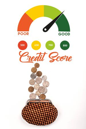 top view of plaid purse near scattered coins on white background with credit score illustration 스톡 콘텐츠