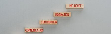 panoramic shot of wooden blocks with communication, contribution, motivation, influence words on grey background, business concept 版權商用圖片 - 134818977