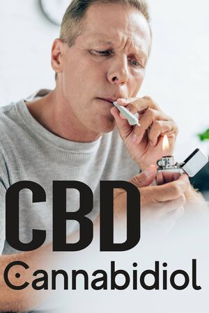 mature man lighting up blunt with medical cannabis at home near CBD illustration