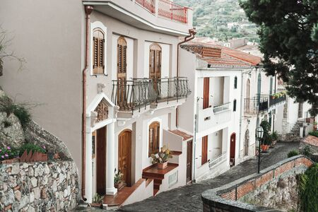 small houses near trees and plants in savoca, Italy