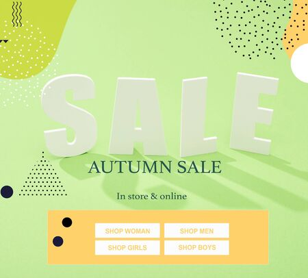 white sale lettering with shadow on green background with autumn sale illustration