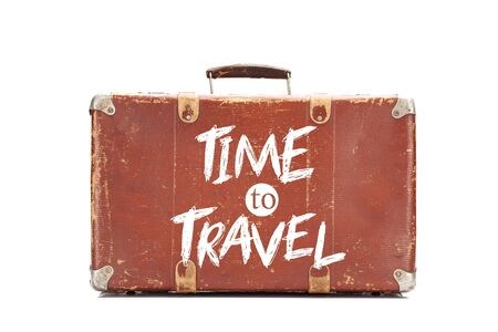 weathered brown vintage suitcase with time to travel illustration isolated on white