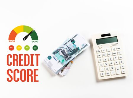 top view of calculator near russian rubles on white background with credit score illustration