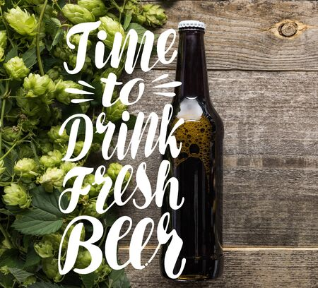 top view of fresh beer in bottle with green hop on wooden surface with time to drink fresh beer illustration