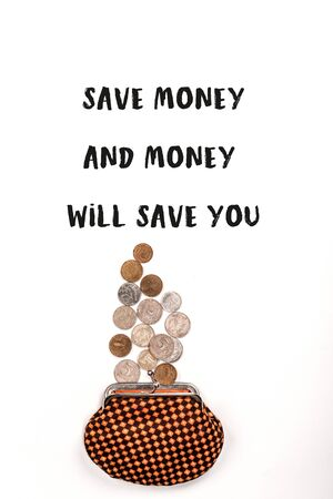 top view of plaid purse near scattered coins on white background with save money and money will save you illustration