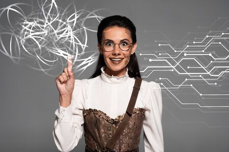 excited attractive steampunk woman showing idea sign isolated on grey with glowing illustration Stock fotó